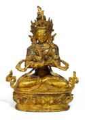 VAJRADHARA. Sino-Tibetan. Ca. 19th c. Copper bronze with fire gilding. The transcendent Buddha