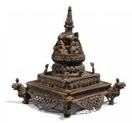 RARE STUPA WITH THE FOUR TATHAGATA BUDDHA. Nepal. 18th/19th c. Copper bronze with residue of gilding