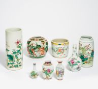 EIGHT PORCELAIN PIECES WITH FINE PAINTING. China. 20th c. Porcelain famille rose. One vase with