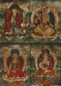 RARE SET OF FOUR THANGKA WITH EMANATIONS OF PADMASAMBHAVA (GURU RINPOCHE). Tibet. 18th c. Pigments