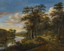 Niederländischer Meister- um 1700 Flusslandschaft mit Figurenstaffage. Öl auf Leinwand. 80 x 112,
