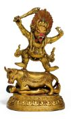 YAMA DHARMARAJA WITH SWORD. Sino-Tibetan. 18th/19th c. Copper bronze with fire gilding, painting and