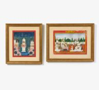 TWO PAINTING WITH MAHARADJA AND KRISHNA. Mughal India. 18th-19th c. Fine painting. Pigments and gold