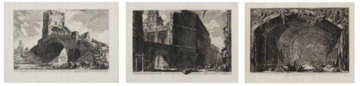 Piranesi, Giovanni-Battista. Rom 1720 - 1778. nach. Drei Radierungen: a) Ponte Salario. 52,5 x 74,