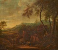 Niederländischer Meister. 18. Jh.Italienische Landschaft mit Wanderern vor einem Felsen. Öl auf