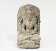 FOUR ARMED VISHNU. India. In the style of the Chola period, but prob. later. Granite. H.37cm.