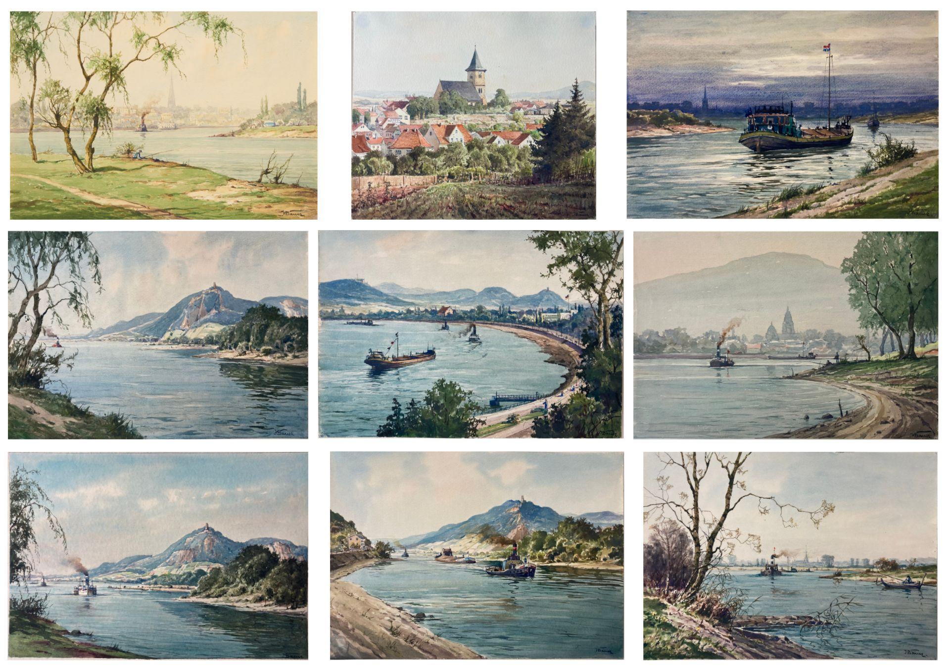 Bauer, Hans. 1883 Drebkau - 1967 Konstanz. Mappe mit 9 Aquarellen. Motive aus Bonn und dem