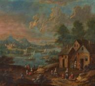 Balen, MatthysDordrecht 1684 - 1766 – zugeschrieben.Ideale Flusslandschaft. Öl auf Holz. 21 x
