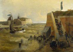 Achenbach, Andreas 1815 Kassel - 1910 Düsseldorf.  Port Entrance with Stormy Sea. Oil on canvas.