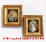 Deharme, Elisa Apollina. Paris um 1805 - 1870. Zwei Miniaturen: Portraits eines Paares. Aquarell und