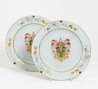TWO LARGE PLATES WITH LION BLAZONS. China. Qing dynasty. 18th-19th c. Compagnie des Indes.