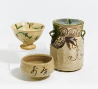RARE TEABOWL IN THE SHAPE OF A WESTERN WINE GOBLET. Japan. Edo period. Ca. 1650. Oribe stoneware,