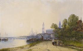 Wyld, William. 1806 London - 1889 Paris. Das Elbufer in Dresden mit Blick auf die Brühlschen