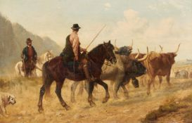 Beavis, Richard 1824 Exmouth - 1896 London   Cattle drive with bulls in Catalonia. Signed on the