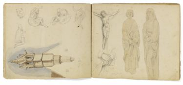 Kaupert, Gustav Kassel 1819 - 1897  Sketchbook, two booklets, each ca. 17 pages. Architectural