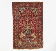 WOHL GHOM. Gebetsteppich. Seide und Wolle. Zustand C. 216 x 114cm. Sonderregelungen Art & Interior