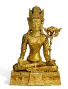 RARE AND LARGE FIGURE OF BODHISATTVA PADMAPANI. Tibet/Nepal. Around 1900. Fire gild bronze with