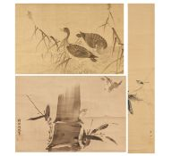 THREE HANGING PICTURES WITH BIRDS. Japan. 19th c. Ink on silk/paper. Mounted as hanging scroll.