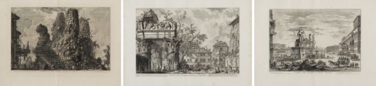 Piranesi, Giovanni-Battista.Rom 1720 - 1778 – nach. Drei Radierungen: a) Piazza di Monte Callo.