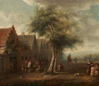 Essen, Cornelis van. war tätig in Amsterdam um 1700Straßenschänke in einem holländischen Dorf. Öl