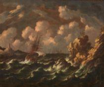 Niederländischer Meister. 17. Jh.Segler in stürmischer See vor südlicher Küste. Öl auf Leinwand.