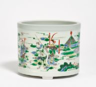 BRUSH POT WITH THE SIX FAITHFUL GENERALS OF THE YANG FAMILY. China. Qing dynasty. 19th c.