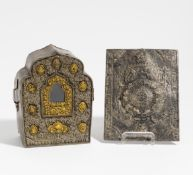 TRAVEL SHRINE (GA U). Tibet. 19th/20th c. Front plate from silvery and golden bronze. Box from