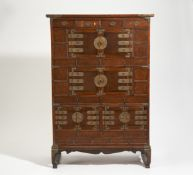 THREE TIERED CUP BOARD (MEORITJANG) ON A BASE. Korea. 19th-20th c. Different wood types,