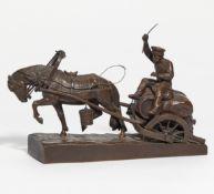 Wolff, Moritz. 1854 Berlin - 1923 Lüneburg. Einspänner. Bronze. Höhe: 23cm. Kyrillisch bezeichnet