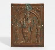 KISSING PLATE WITH FOUR ARMED SHIVA VIRABHADRA. India. 18th-19th c. Copper, repoussé in high relief.