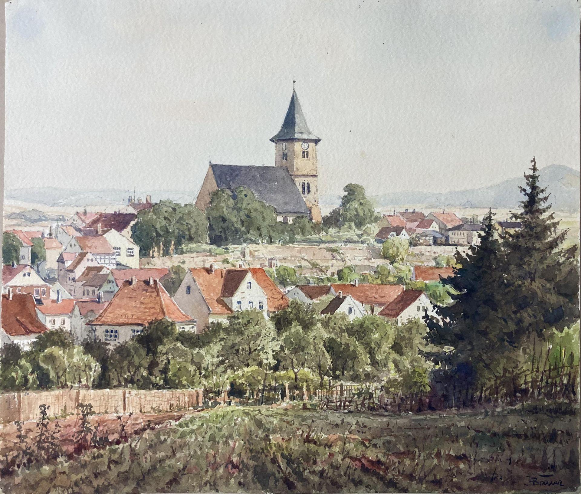 Bauer, Hans. 1883 Drebkau - 1967 Konstanz. Mappe mit 9 Aquarellen. Motive aus Bonn und dem - Bild 4 aus 20
