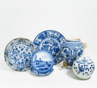 PHARMACIST BOTTLE, JAR WITH DRAIN AND TWO DISHES. Japan. 17th-18th resp. 19th c. Arita porcelain
