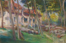 Luce, Maximilien. 1858 Paris - 1941 Rolleboise. Sommerhaus unter Pinien. Pastellkreide auf Papier.