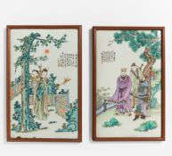 TWO PORCELAIN PLATES WITH TWO BEAUTIES RESP. THREE HEROS. China. Ca. 1900. Porcelain painted in