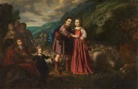 SAANTVOORT, DIRCK DIRCKSZ. Amsterdam ca. 1610 - ca. 1680 - circle  Rebecca and Elizier (Genesis
