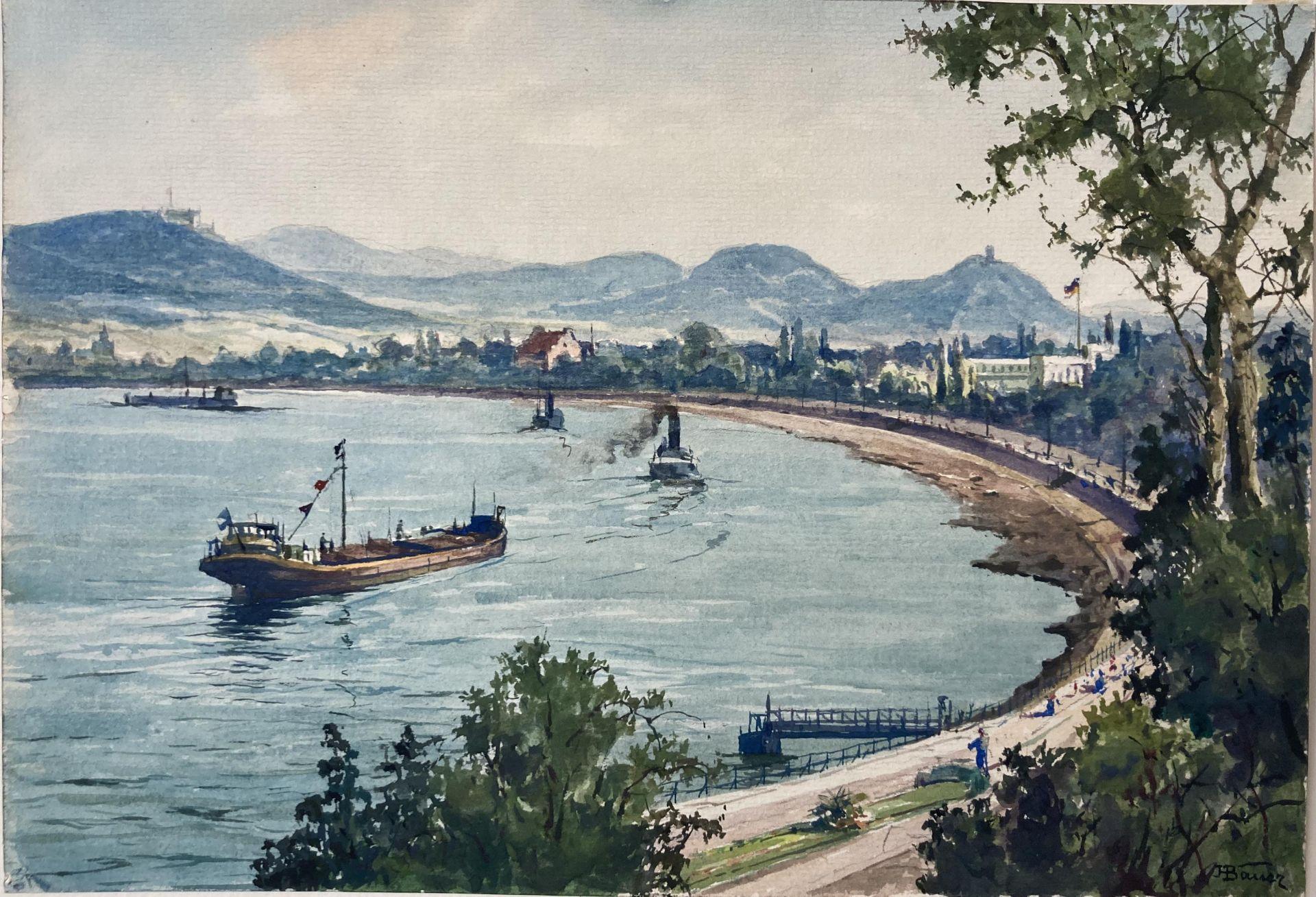 Bauer, Hans. 1883 Drebkau - 1967 Konstanz. Mappe mit 9 Aquarellen. Motive aus Bonn und dem - Bild 10 aus 20
