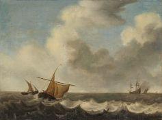 Niederländischer Meister. 18. Jh.Küstensegler auf dem Wasser. Öl auf Leinwand. Doubliert. 48 x 64cm.