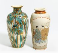 TWO SATSUMA VASES, ONE WITH BAMBOO, THE OTHER WITH GENJI-MOTIV. Japan. Meiji period (1868-1912).
