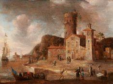 Beerstraten, Jan Abrahamsz. Amsterdam 1622 - 1666. Umkreis. Befestigter italienischer Hafen. Öl