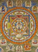 THANGKA OF AVALOKITESHVARA WITH ELEVEN HEADS IN A MANDALA. Nepal/Tibet. 19th/20th c. Pigments on