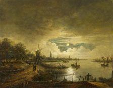 Neer, Aert van der. Amsterdam um 1603 - 1677. Nachfolge. Nachtlandschaft mit Wanderern. Öl auf
