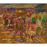 Sterl, Robert Hermann. 1867 Grossdobritz - 1932 Naundorf. Umkreis. Arbeiter in der Lehmgrube. Öl auf