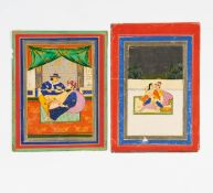 EIGHT EROTIC PAINTINGS. East India. Rajasthan, prob. Jaipur. Late 19th/beg. 20th c. Pigments and