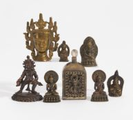 RARE STANDING JAMBHALA, FIVE SITTING BUDDHA AND A CROWNED BUDDHA HEAD. Tibet/Nepal. 18th-19th c.