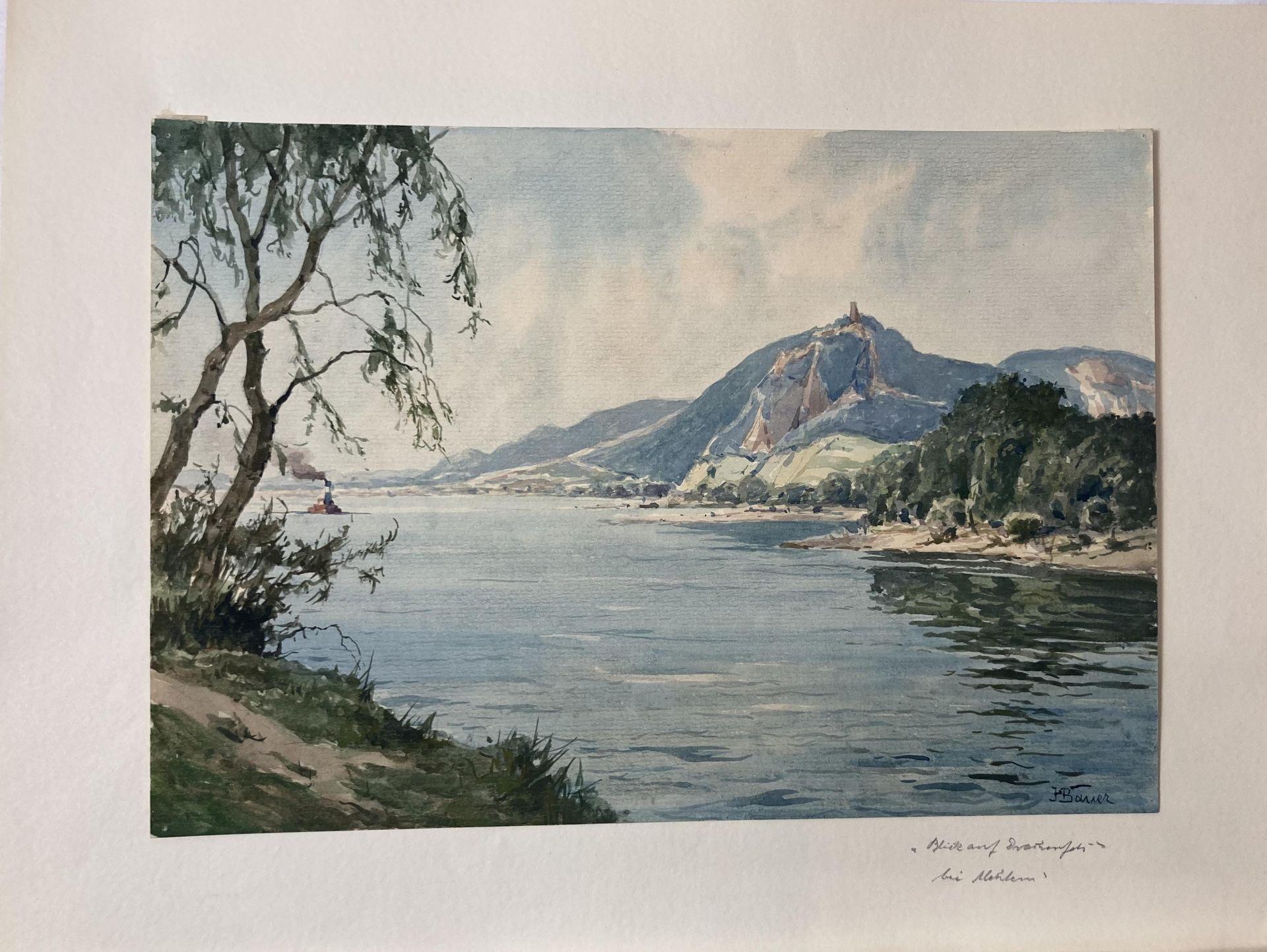 Bauer, Hans. 1883 Drebkau - 1967 Konstanz. Mappe mit 9 Aquarellen. Motive aus Bonn und dem - Bild 9 aus 20