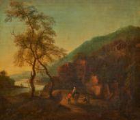 Niederländischer Meister. 18. Jh.Italienische Flusslandschaft mit Reisenden. Öl auf Leinwand.