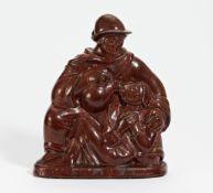 DER BARMHERZIGE SAMARITER. Royal Copenhagen. Modell J. Nielsen. Steinzeug, rot glasiert. H. 33cm.