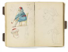 Kaupert, Gustav Kassel 1819 - 1897  Sketchbook, ca. 50 pages. Architecture, Italian landscapes
