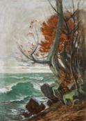 Strandbild mit Buche und rotem Laub im Herbst