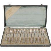 (12) Piece set of coffee spoons including sugar scoop, silver.